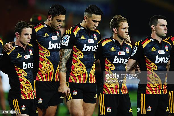 The Chiefs observe a moment of silence to mark the significance of Anzac Day priorto the round 11 Super Rugby match between the Chiefs and the Force...