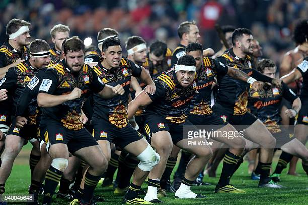 The Chiefs perform a haka before the International Test match between the Chiefs and Wales at Waikato Stadium on June 14 2016 in Hamilton New Zealand