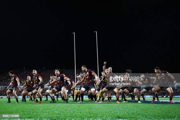 The Chiefs perform the haka ahead of the match between the Chiefs and the British Irish Lions at Waikato Stadium on June 20 2017 in Hamilton New...