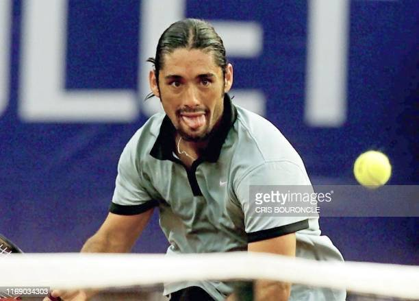 The Chilaen Marcelo Rios runs for the ball in a game against Czech Bohdan Ulihrach during the second set of the game in Santiago Chile 29 February...