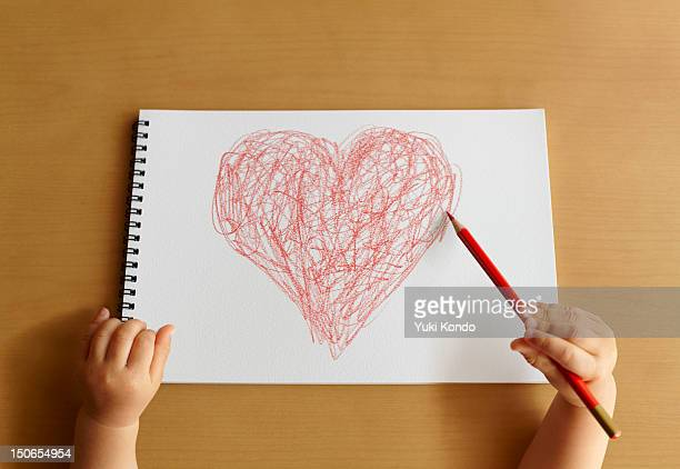 The child describing a heart mark.