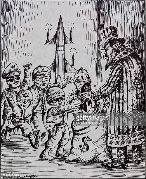 The children are dressed in the uniforms of NATO and various rightwing regimes In the background an intercontinental ballistic missile stands in for...