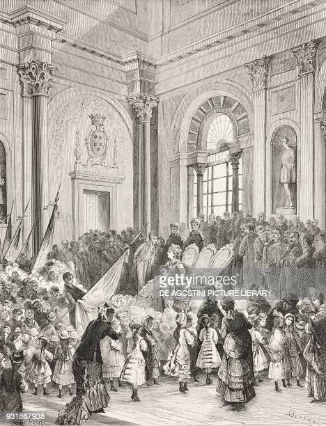 The children from municipal schools presenting their gifts to Prince of Naples Victor Emmanuel of Savoy Florence Tuscany Italy drawing by Odoardo...