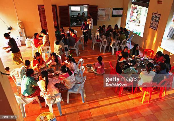 The children have lunch together in the AFESIP Organisation / Somaly Mam Foundation founded by Somaly MAM a former victim of children trafficking in...