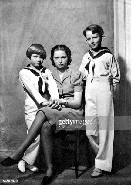 the children of LeopoldIII and princessAstrid princess JosephineCharlotte of Belgium with her brothers Baudouin Duke of Brabant and Albert Prince of...