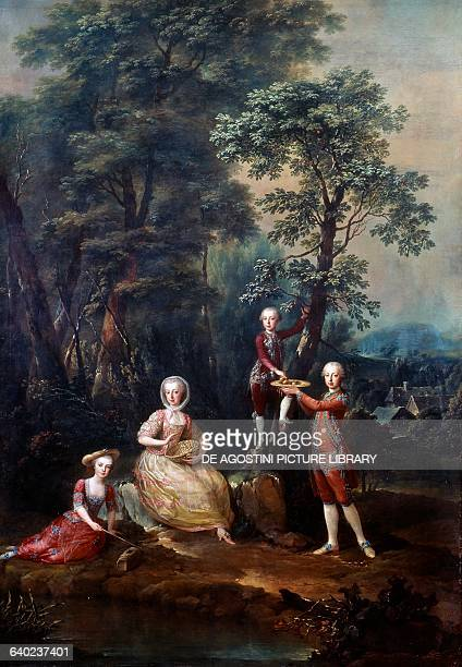 The children of Maria Theresa of Austria in costumes during a play painting Schoenbrunn Palace Vienna Austria 18th century