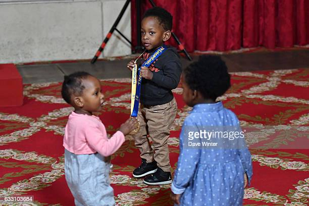 The children of Olivier Nyokas Cedric Sorhaindo and Luc Abalo of the France handball team who have just won the World Championships at the reception...