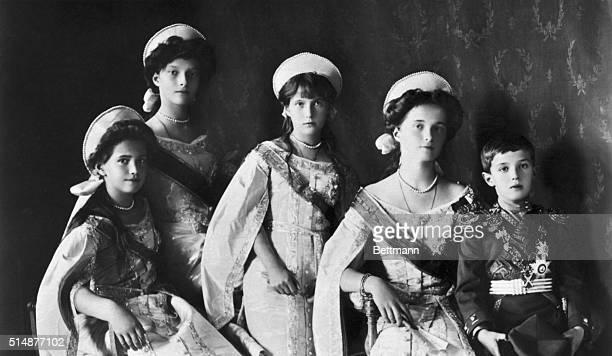 The children of the last Russian Czar, Grand Duchesses Tatiana, Marie, Anastasia, Olga, and the Czarevitch.