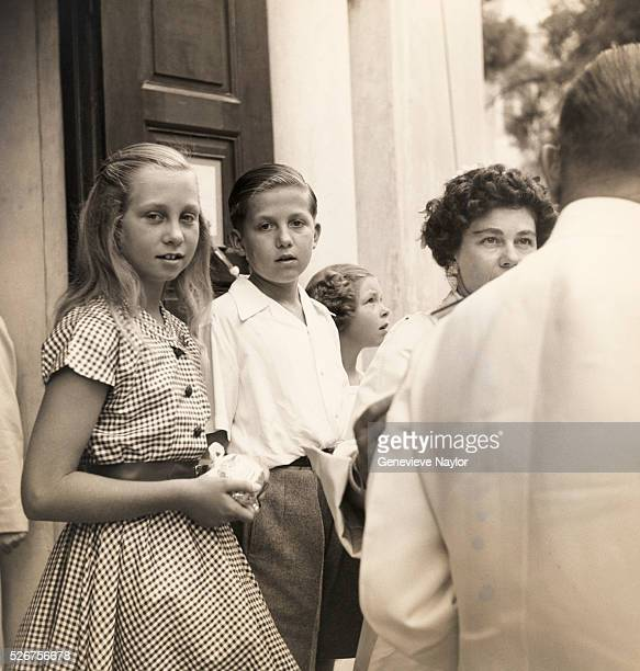 The children of the Royal Family of Greece - from left to right, Sophia, Constantine, and Irini - join their mother Queen Frederica on a royal trip...