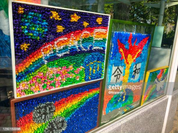the children peace memorial and the thousand crane origamis - hiroshima peace memorial ceremony stock pictures, royalty-free photos & images