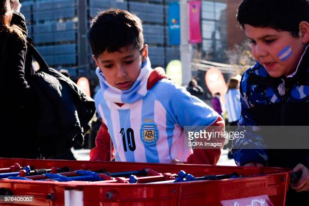 The children played table soccer with their Messi shirt and supported the Argentine national team Thousands of football fans took to the main square...