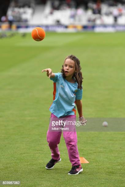The children's Allstars cricket practice takes place during the lunch interval on Day Two of the 3rd Investec Test match between England and South...
