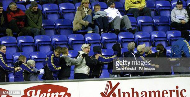 The childrens Conga line that started the trouble between Wigan fans and stewards at Wigan during the match between Wigan and Swindon Town at the JJB...