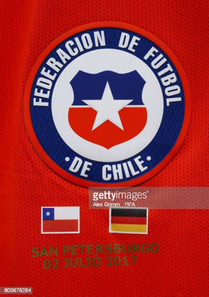 The Chile logo is seen on a Chile shirt in the changing room prior to the FIFA Confederations Cup Russia 2017 Final between Chile and Germany at...