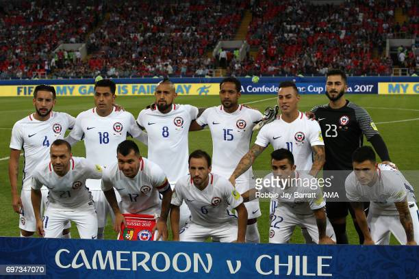 The Chile players line up for a team photo prior to the FIFA Confederations Cup Russia 2017 Group B match between Cameroon and Chile at Spartak...