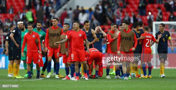 The Chile team celebrate after the FIFA Confederations Cup Russia 2017 Group B match between Chile and Australia at Spartak Stadium on June 25 2017...