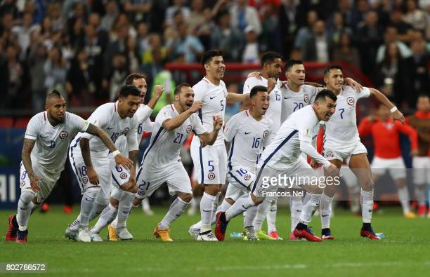 The Chile team celebrate during the penalty shoot out during the FIFA Confederations Cup Russia 2017 SemiFinal between Portugal and Chile at Kazan...