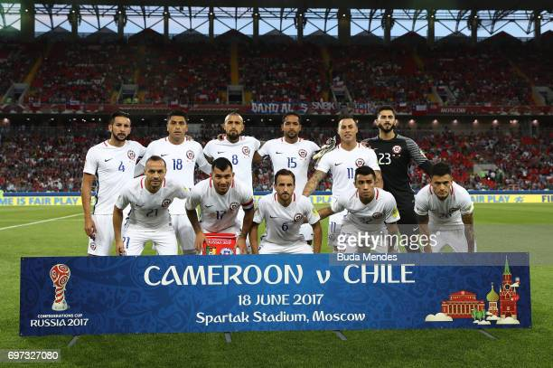 The Chile team pose for a team photo prior to the FIFA Confederations Cup Russia 2017 Group B match between Cameroon and Chile at Spartak Stadium on...
