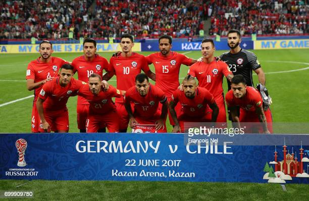 The Chile team pose for a team photo prior to the FIFA Confederations Cup Russia 2017 Group B match between Germany and Chile at Kazan Arena on June...
