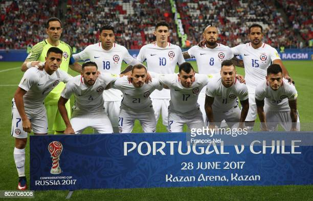 The Chile team pose for a team photo prior to the FIFA Confederations Cup Russia 2017 SemiFinal between Portugal and Chile at Kazan Arena on June 28...