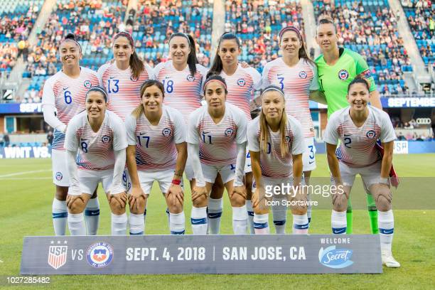 The Chile Women's National Football team before the United States Women's National Team against Chile on September 4 at Avaya Stadium in San Jose CA