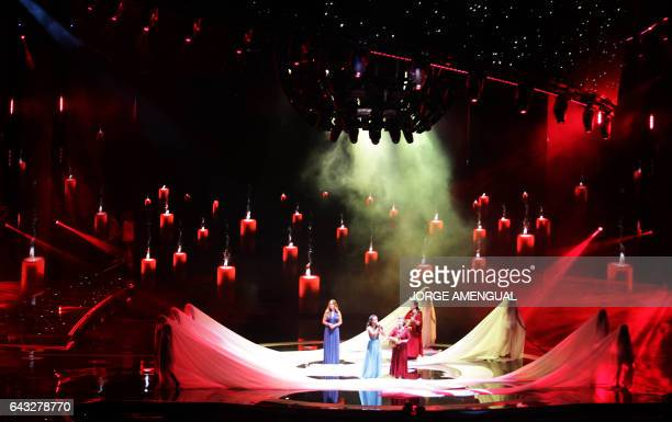 The Chilean ballet performs during the inauguration of the 58th edition of Vina del Mar International Song Festival on February 20 2017 in Vina del...