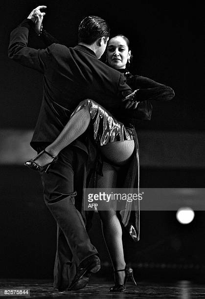 The Chilean couple of Ivan Aaron Ortiz Arana and Jessica Veronica Oyarzun dances during the first day of the qualifying round of the Stage Tango...