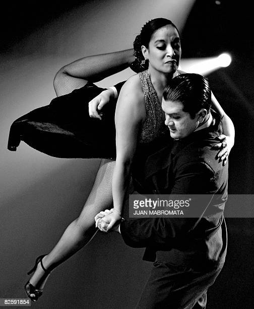 The Chilean couple of Ivan Ortiz and Jessica Oyarzun dances during the second day of the qualifying round of the Stage Tango competition at the 6th...