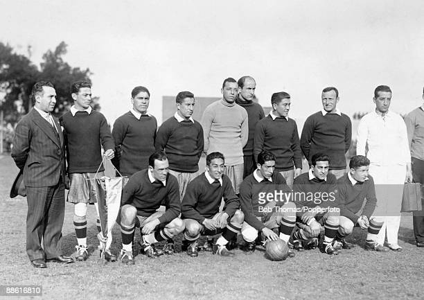 The Chilean team prior to their FIFA World Cup match against Mexico at the Parque Central in Montevideo 16th July 1930 Chile won 30 Back row unknown...