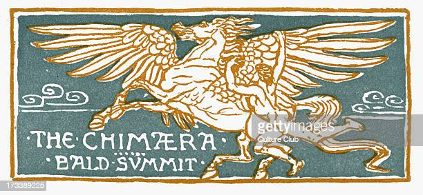 The Chimaera Illustrations by Walter Crane 1845 1915 Title illustration for the myth of Bellerophon and ' Bald Summit ' title for the frame story in...