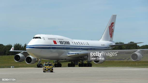 The China Airlines Boeing 747 carrying Chinese President Xi Jinping arrives at Hamburg Airport for the Hamburg G20 economic summit on July 6 2017 in...