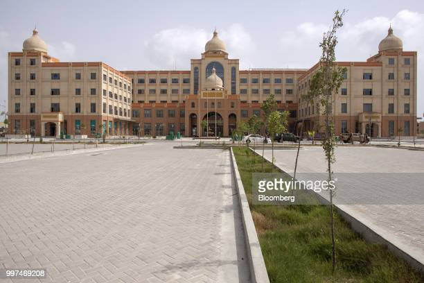 The China Communication Construction building stands in the Gwadar Free Zone operated by China Overseas Ports Holding Co in Gwadar Balochistan...