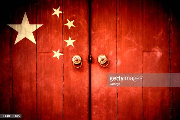the china flag painted on the door - chinese flag stock pictures, royalty-free photos & images