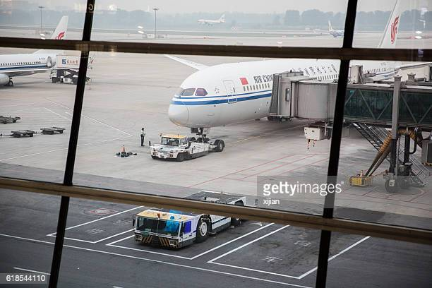The China International Airlines B7832 arrived at Beijing International Airport