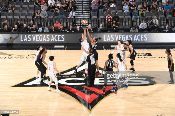 The China National Team and the Las Vegas Aces tipoff during a WNBA preseason game on May 6 2018 at the Mandalay Bay Events Center in Las Vegas...