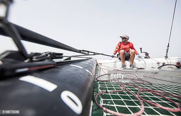 The China One GC32 foiling catamaran skippered by Taylor Canfield race during The Extreme Sailing Series 2016 March 18 2016 in Muscat Oman