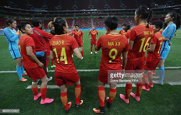 The China PR players form a huddle prior to the Women's First Round Group E match between China PR and Sweden on Day 4 of the Rio 2016 Olympic Games...