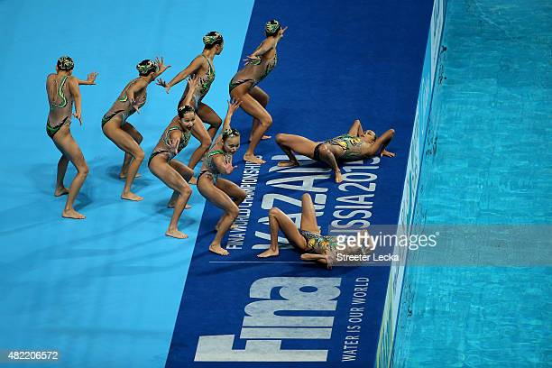 The China team competes in the Women's Team Free Synchronised Swimming Preliminary on day four of the 16th FINA World Championships at the Kazan...