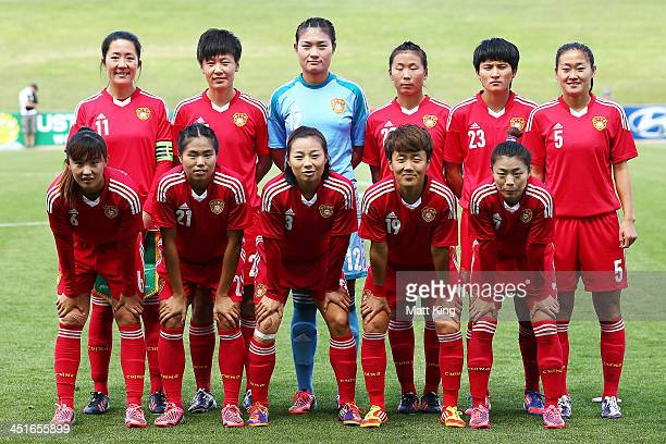 The China team line up before the match between the Australian Matildas and China PR at WIN Stadium on November 24 2013 in Wollongong Australia