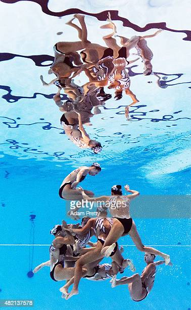 The China team swims in the Women's Team Technical Synchronised Swimming Final on Day Three of the 16th FINA World Championships at the Kazan Arena...