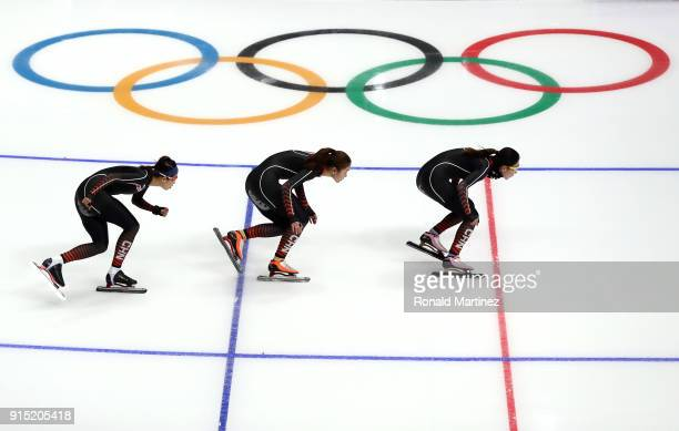 The China Women's Short Track Speed Skating team train during previews ahead of the PyeongChang 2018 Winter Olympic Games at Gangneung Ice Arena on...
