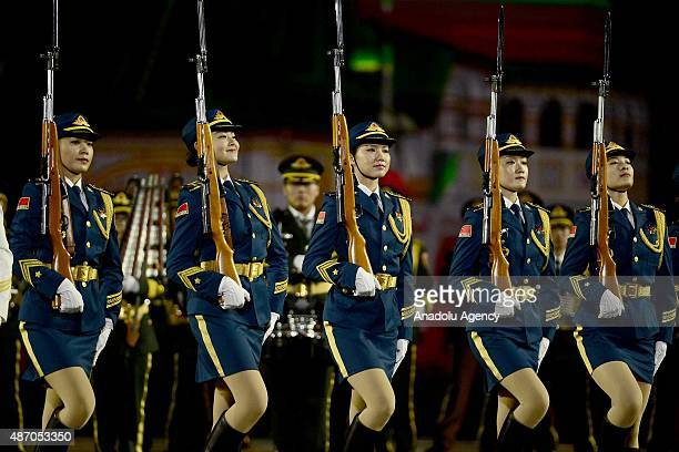 The China's band of the People's Liberation Army perform during dress rehearsal of the Spasskaya Tower International Military Orchestra Music...