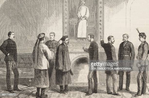 The Chinese ambassador inspecting the portrait of general Charles George Gordon known as Chinese Gordon Chatham United Kingdom illustration from the...