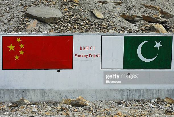 The Chinese and Pakistani flags are depicted on a section of the Karakoram highway near Khunjerab Pakistan on Thursday June 25 2009 Pakistan has...