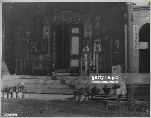The Chinese approach to manufacture in Australia is shown here ***** Joss House at Glebe NSW January 29 1947