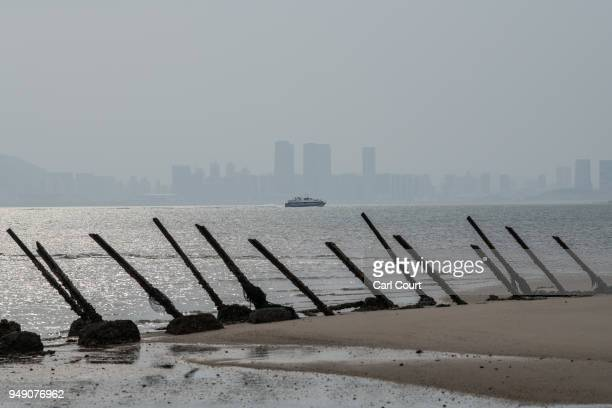 The Chinese city of Xamen is seen in the distance behind aged anti-landing barricades on a beach facing China on the Taiwanese island of Kinmen...