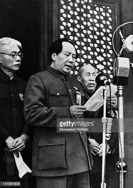 The Chinese Communist Party leader Mao Zedong declaring the birth of the People's Republic of China over the microphones. Beijing, 1st October 1949