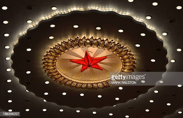 The Chinese Communist star emblem during the closing ceremony of the Party Congress at the Great Hall of the People in Beijing on November 14 2012...
