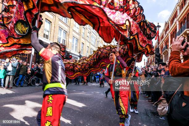The Chinese community in London is celebrating Lunar New Year for the Year of the Dog on February 18 2018 in London UK