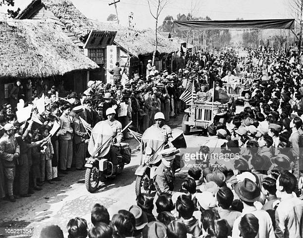 The Chinese Crowd Cheering The American General Lewis B Pick When Coming To Ledo Road With His Troops In Kunming In China At The End Of 1944